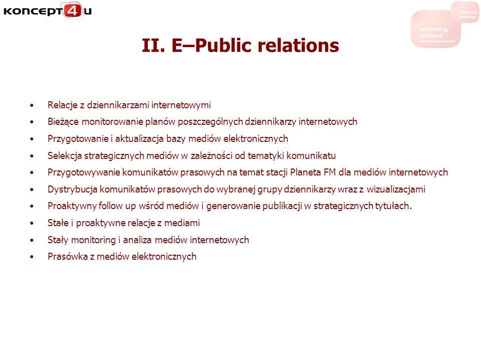 II. E–Public relations Relacje z dziennikarzami internetowymi