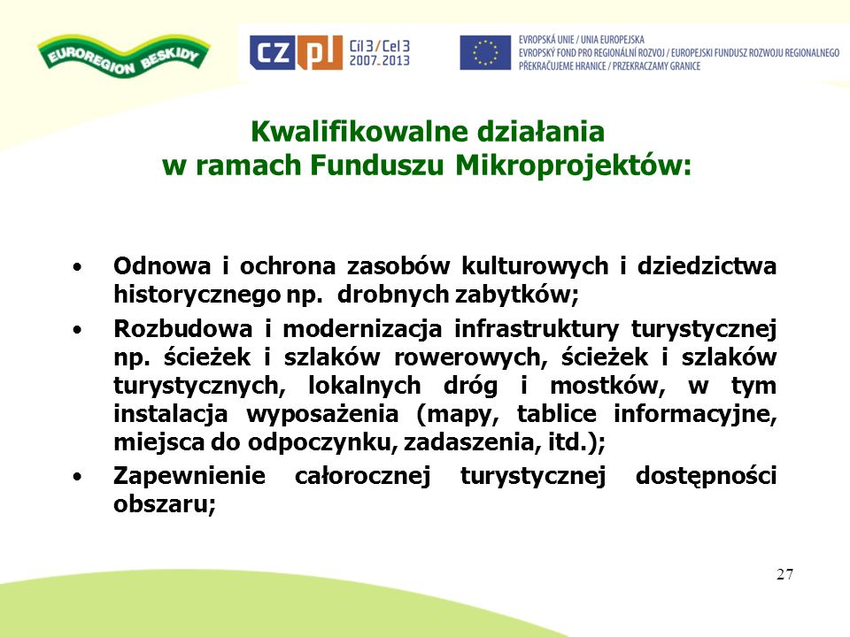 Kwalifikowalne działania w ramach Funduszu Mikroprojektów: