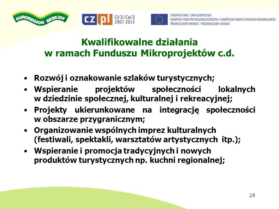 Kwalifikowalne działania w ramach Funduszu Mikroprojektów c.d.