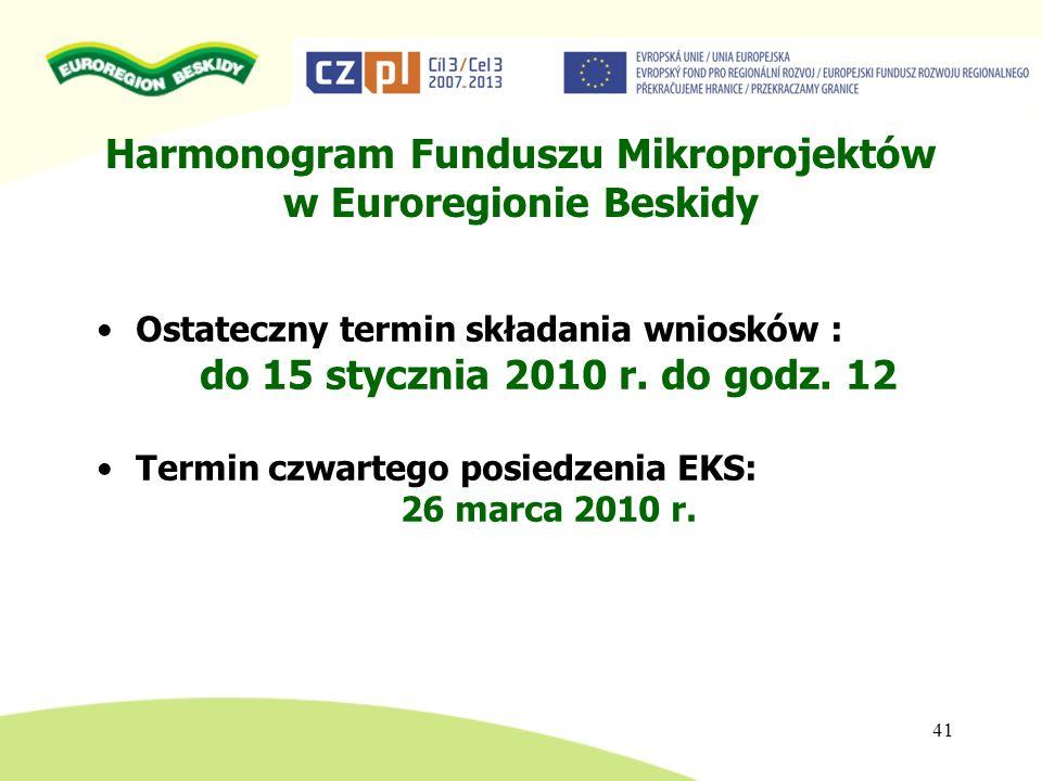 Harmonogram Funduszu Mikroprojektów w Euroregionie Beskidy