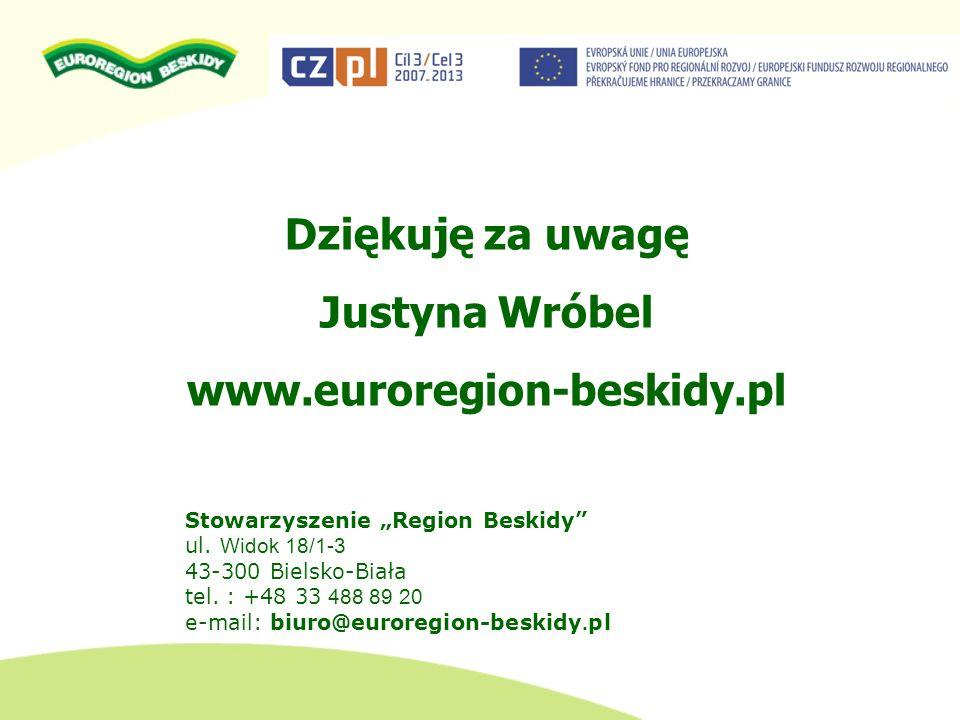 Dziękuję za uwagę Justyna Wróbel www.euroregion-beskidy.pl