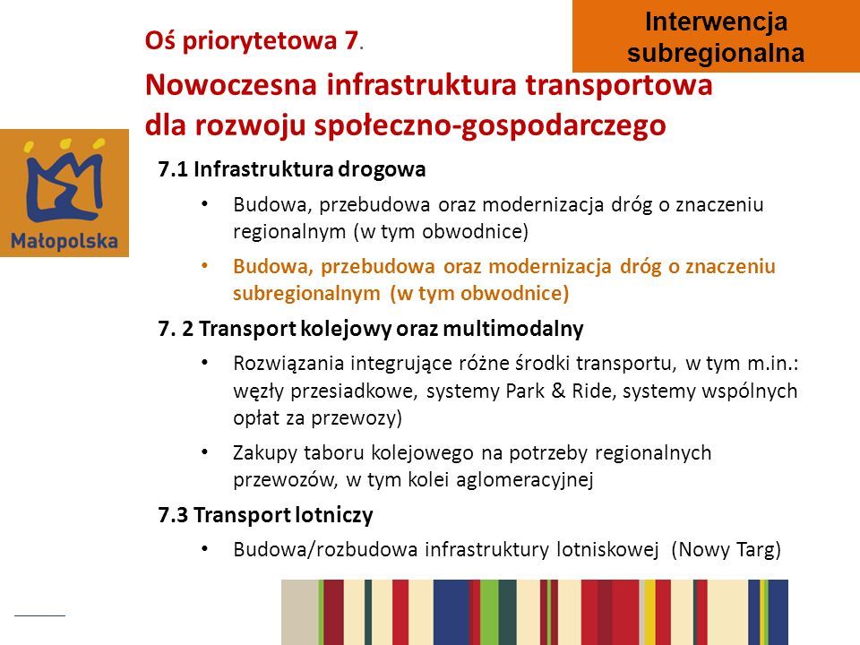 Interwencja subregionalna. Oś priorytetowa 7. Nowoczesna infrastruktura transportowa dla rozwoju społeczno-gospodarczego.