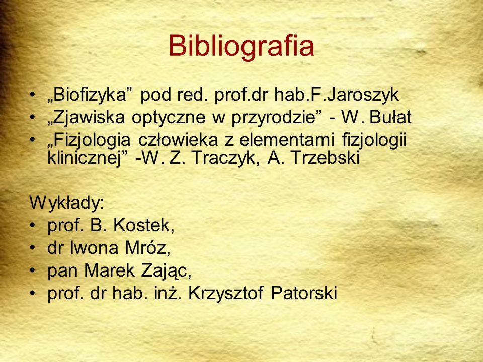 """Bibliografia """"Biofizyka pod red. prof.dr hab.F.Jaroszyk"""