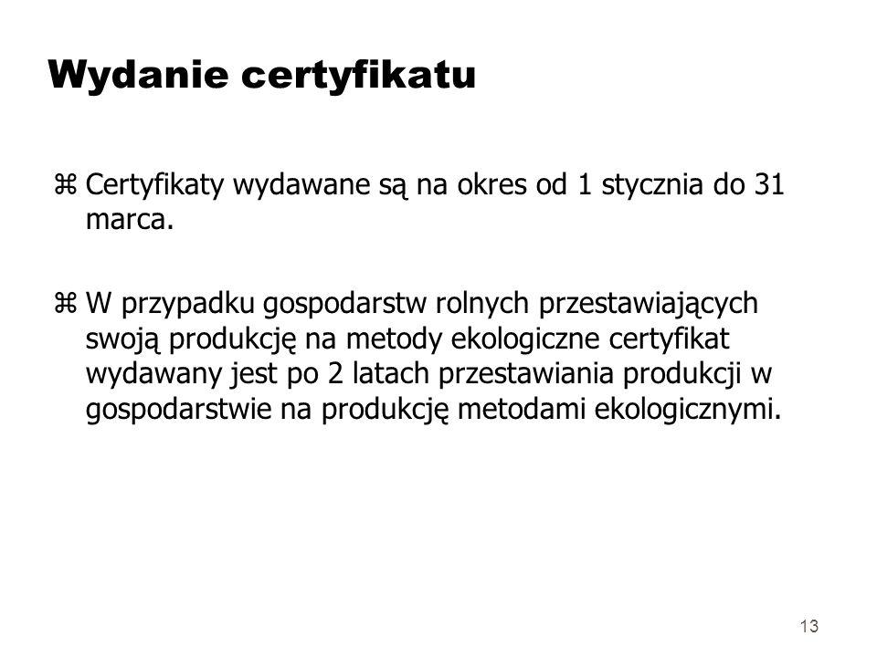 Wydanie certyfikatu Certyfikaty wydawane są na okres od 1 stycznia do 31 marca.