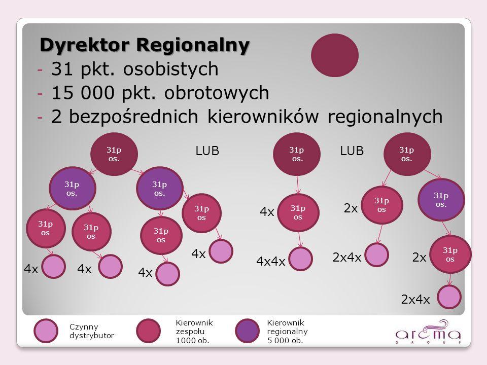 2 bezpośrednich kierowników regionalnych Dyrektor Regionalny