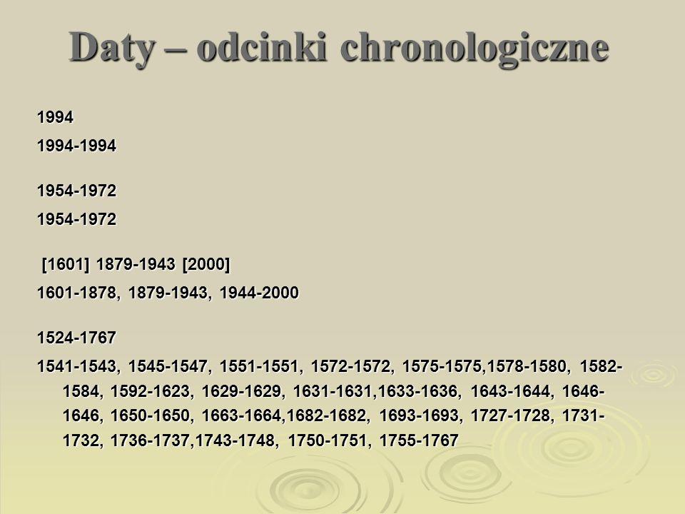 Daty – odcinki chronologiczne