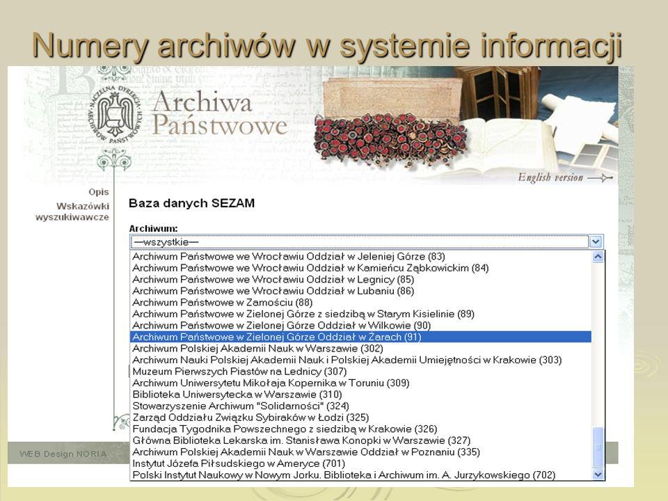 Numery archiwów w systemie informacji