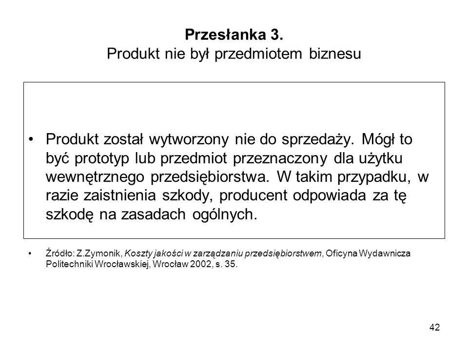 Przesłanka 3. Produkt nie był przedmiotem biznesu