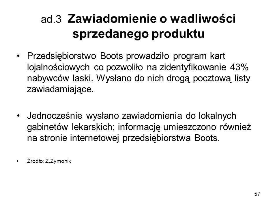 ad.3 Zawiadomienie o wadliwości sprzedanego produktu