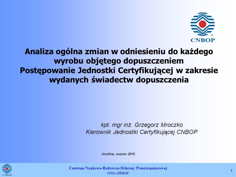 Analiza ogólna zmian w odniesieniu do każdego wyrobu objętego dopuszczeniem Postępowanie Jednostki Certyfikującej w zakresie wydanych świadectw dopuszczenia
