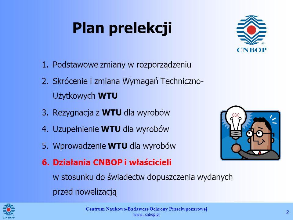 Plan prelekcji Podstawowe zmiany w rozporządzeniu