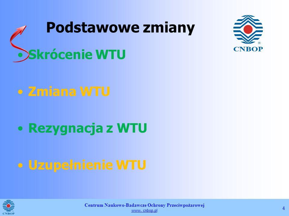 Podstawowe zmiany Skrócenie WTU Zmiana WTU Rezygnacja z WTU
