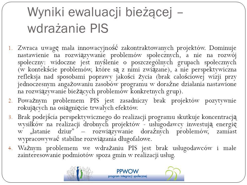 Wyniki ewaluacji bieżącej – wdrażanie PIS