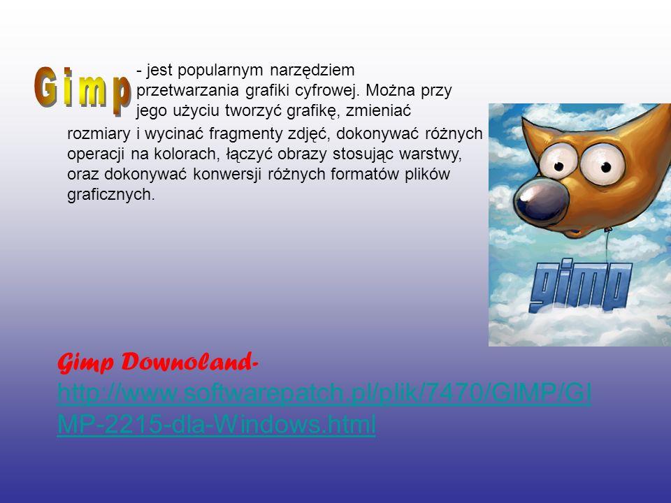 - jest popularnym narzędziem przetwarzania grafiki cyfrowej
