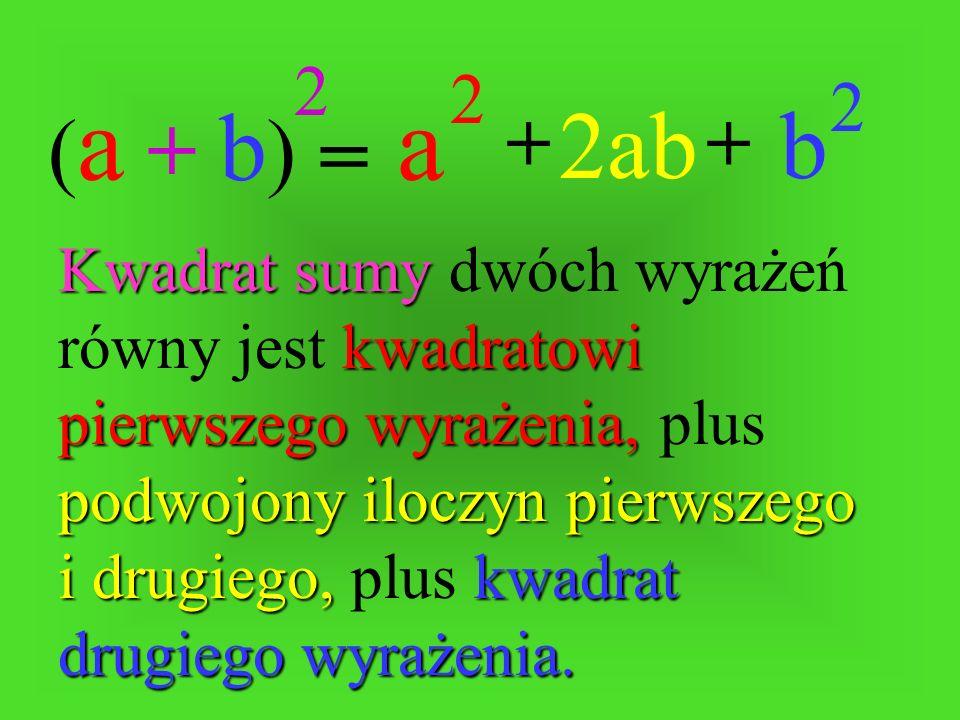 (a + b)2. a. 2. b. 2. 2ab. + + =