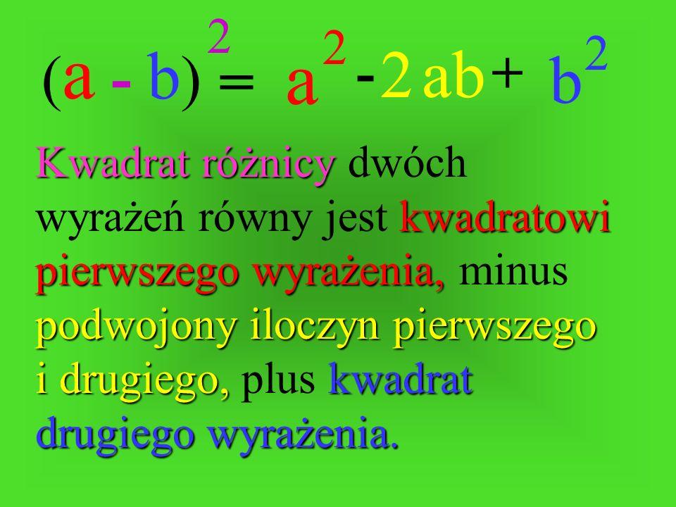 (a - b) 2. a. 2. b. 2. ab. 2. - + =