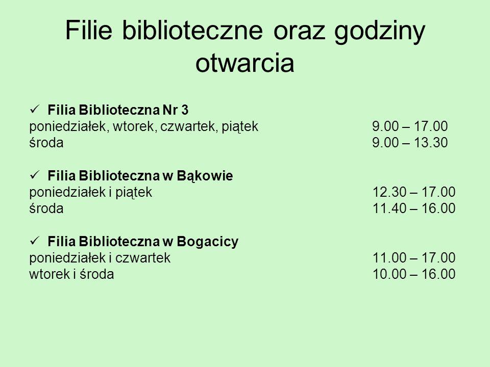 Filie biblioteczne oraz godziny otwarcia