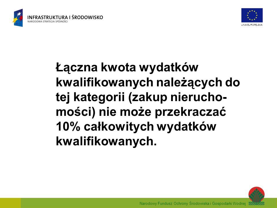 Łączna kwota wydatków kwalifikowanych należących do tej kategorii (zakup nierucho-mości) nie może przekraczać 10% całkowitych wydatków kwalifikowanych.
