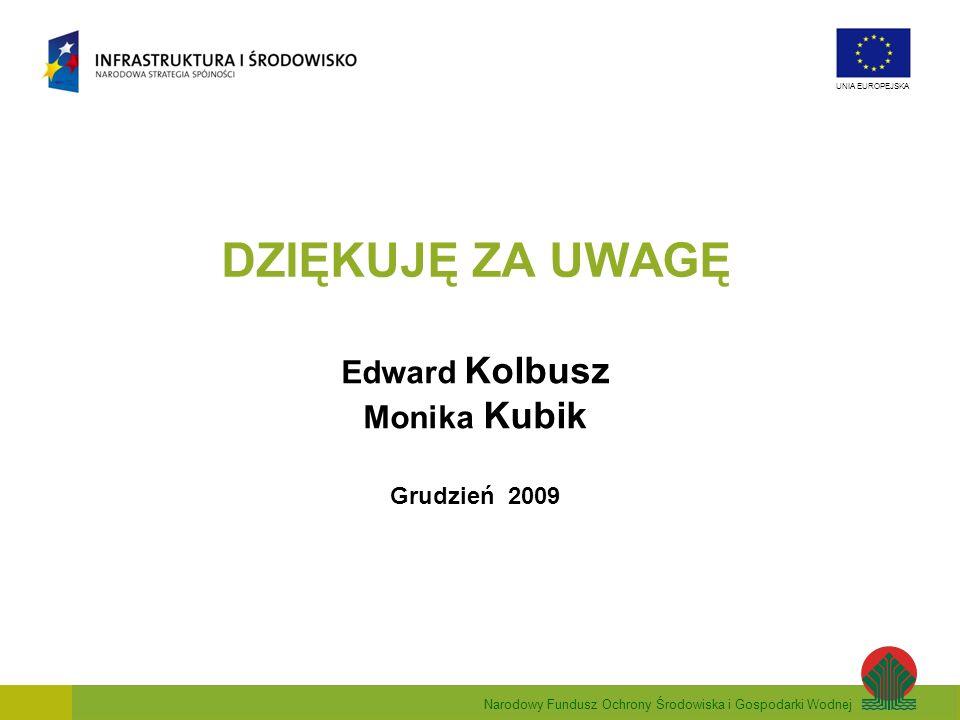 DZIĘKUJĘ ZA UWAGĘ Edward Kolbusz Monika Kubik Grudzień 2009