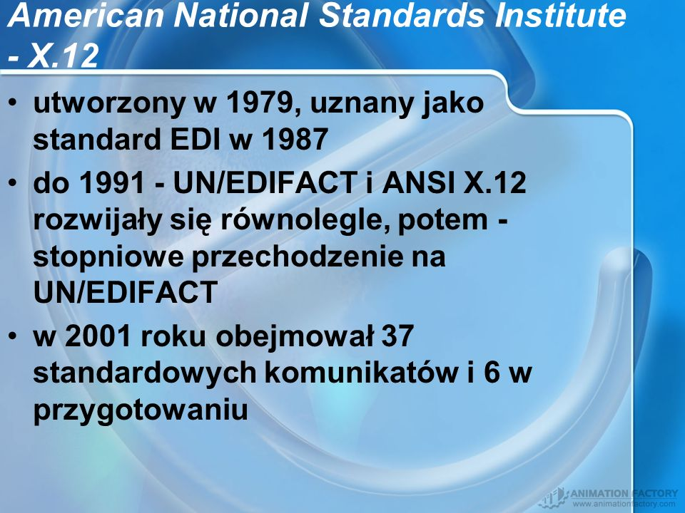 American National Standards Institute - X.12