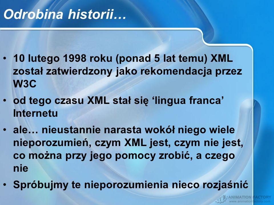 Odrobina historii… 10 lutego 1998 roku (ponad 5 lat temu) XML został zatwierdzony jako rekomendacja przez W3C.