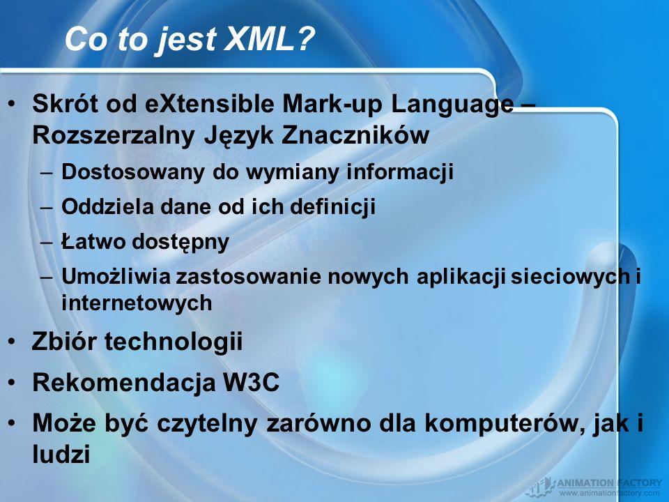 Co to jest XML Skrót od eXtensible Mark-up Language – Rozszerzalny Język Znaczników. Dostosowany do wymiany informacji.