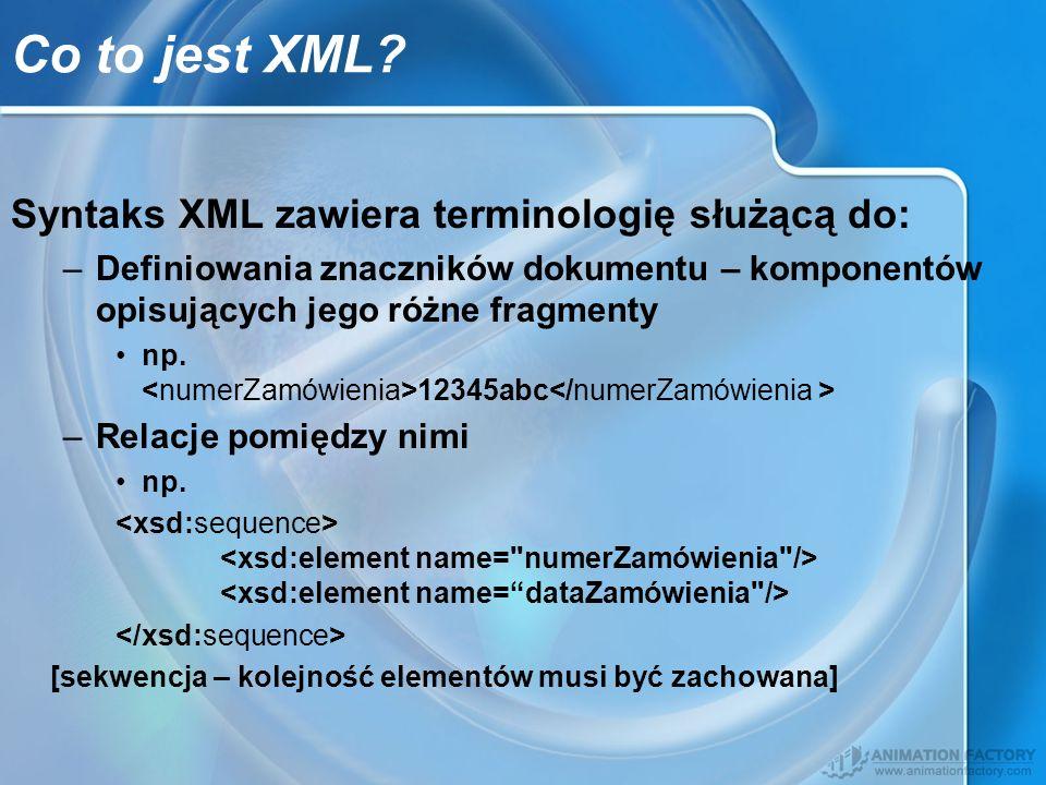 Co to jest XML Syntaks XML zawiera terminologię służącą do:
