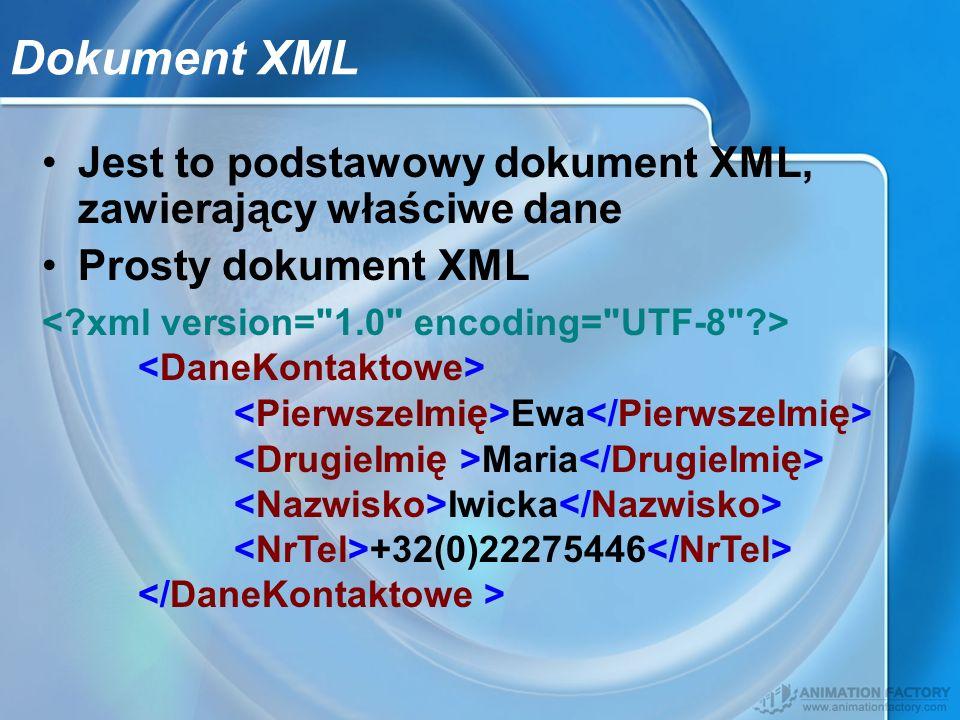 Dokument XML Jest to podstawowy dokument XML, zawierający właściwe dane. Prosty dokument XML.