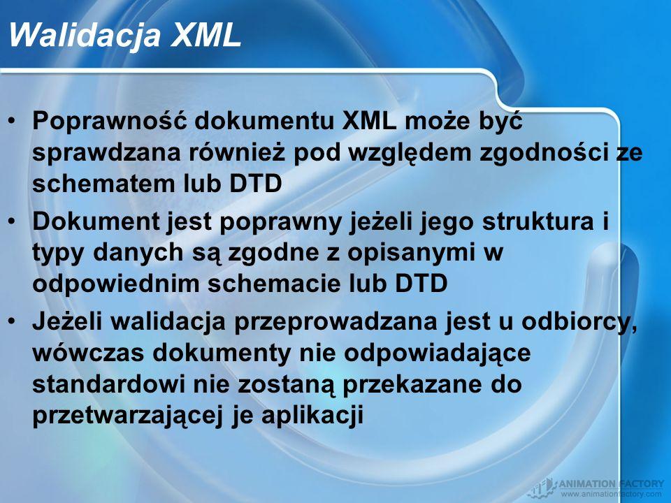 Walidacja XML Poprawność dokumentu XML może być sprawdzana również pod względem zgodności ze schematem lub DTD.