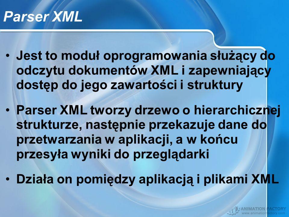 Parser XML Jest to moduł oprogramowania służący do odczytu dokumentów XML i zapewniający dostęp do jego zawartości i struktury.