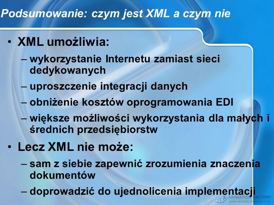 Podsumowanie: czym jest XML a czym nie
