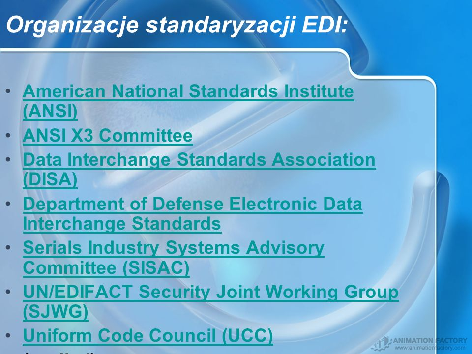 Organizacje standaryzacji EDI: