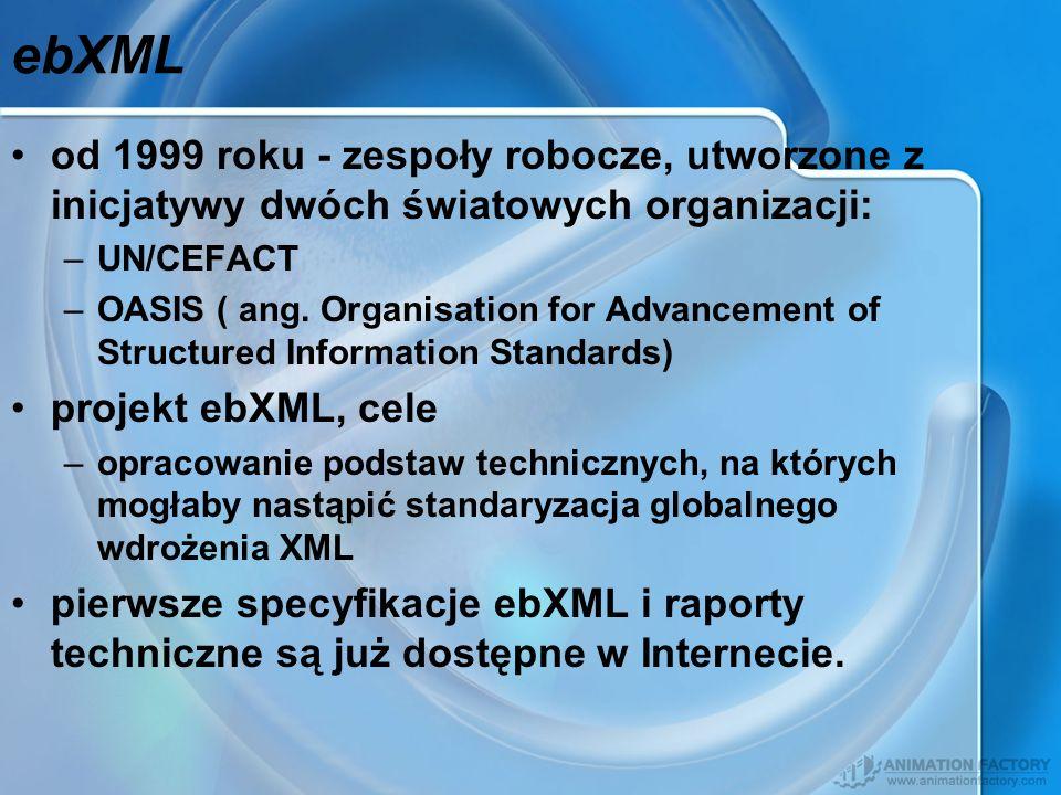 ebXML od 1999 roku - zespoły robocze, utworzone z inicjatywy dwóch światowych organizacji: UN/CEFACT.