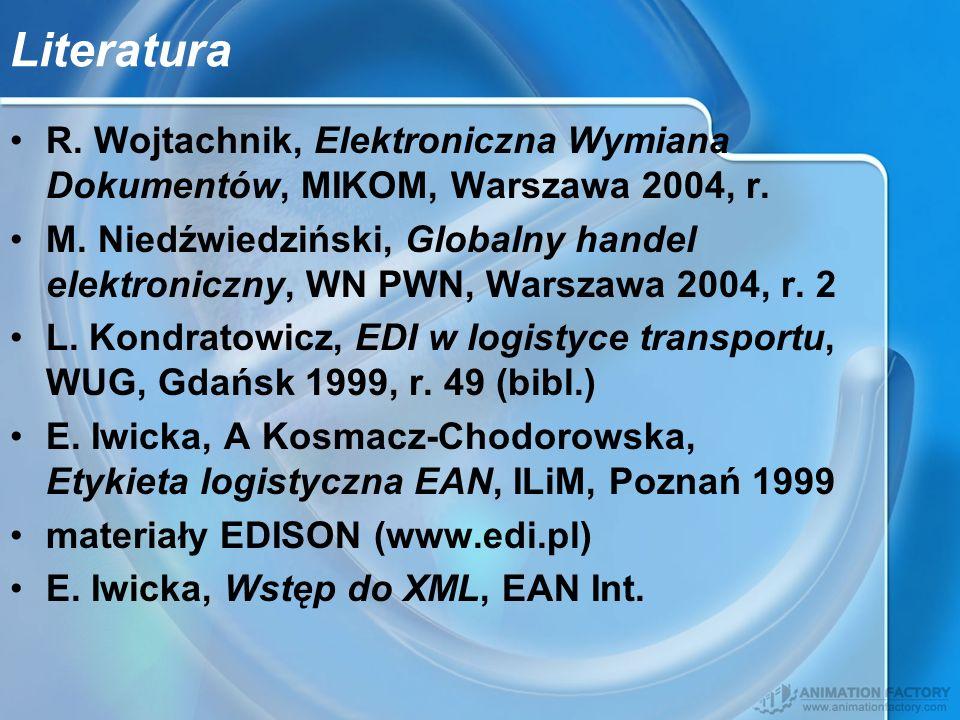 Literatura R. Wojtachnik, Elektroniczna Wymiana Dokumentów, MIKOM, Warszawa 2004, r.