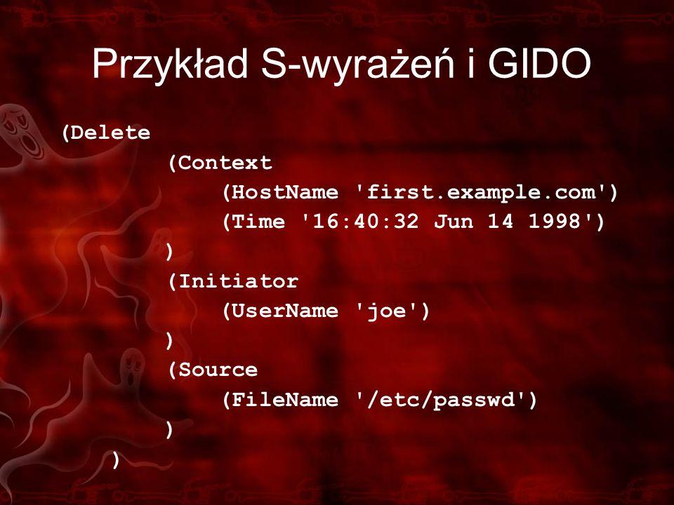Przykład S-wyrażeń i GIDO