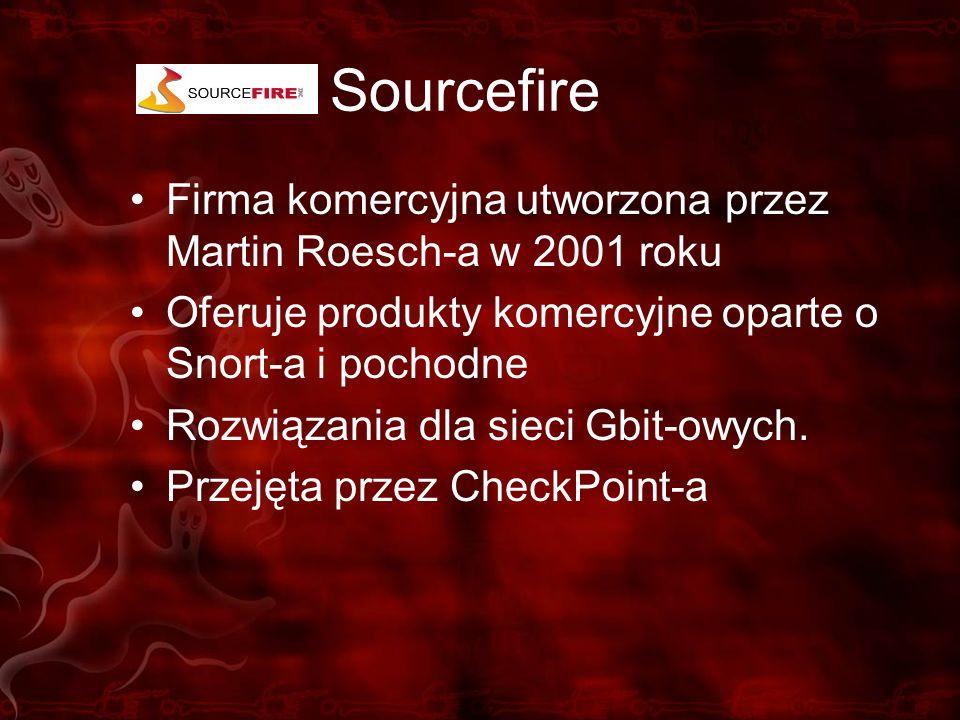 Sourcefire Firma komercyjna utworzona przez Martin Roesch-a w 2001 roku. Oferuje produkty komercyjne oparte o Snort-a i pochodne.