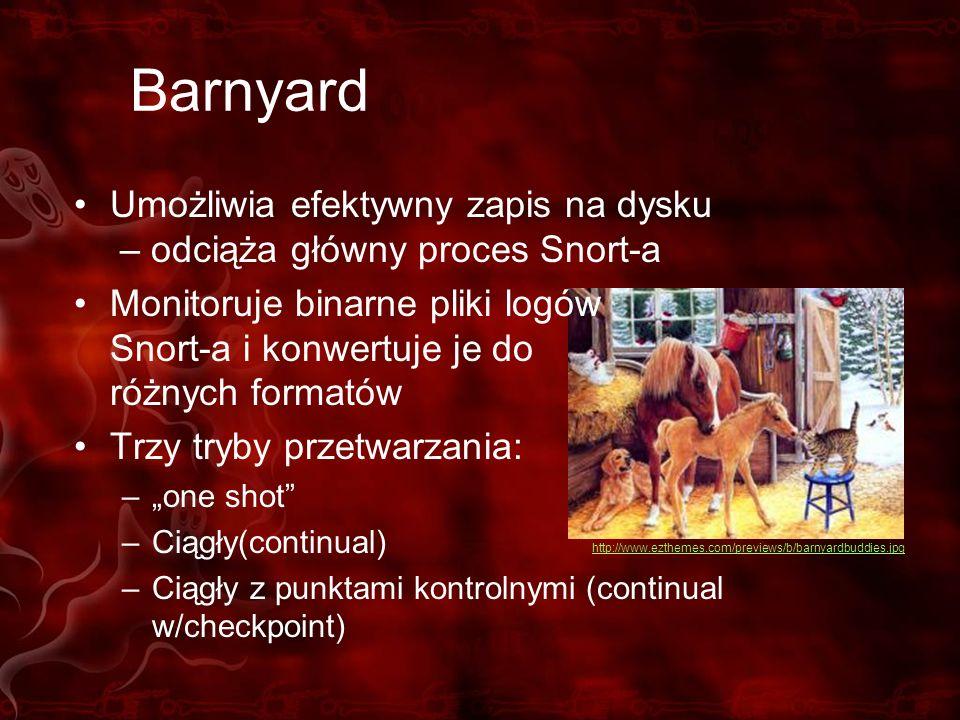Barnyard Umożliwia efektywny zapis na dysku – odciąża główny proces Snort-a.