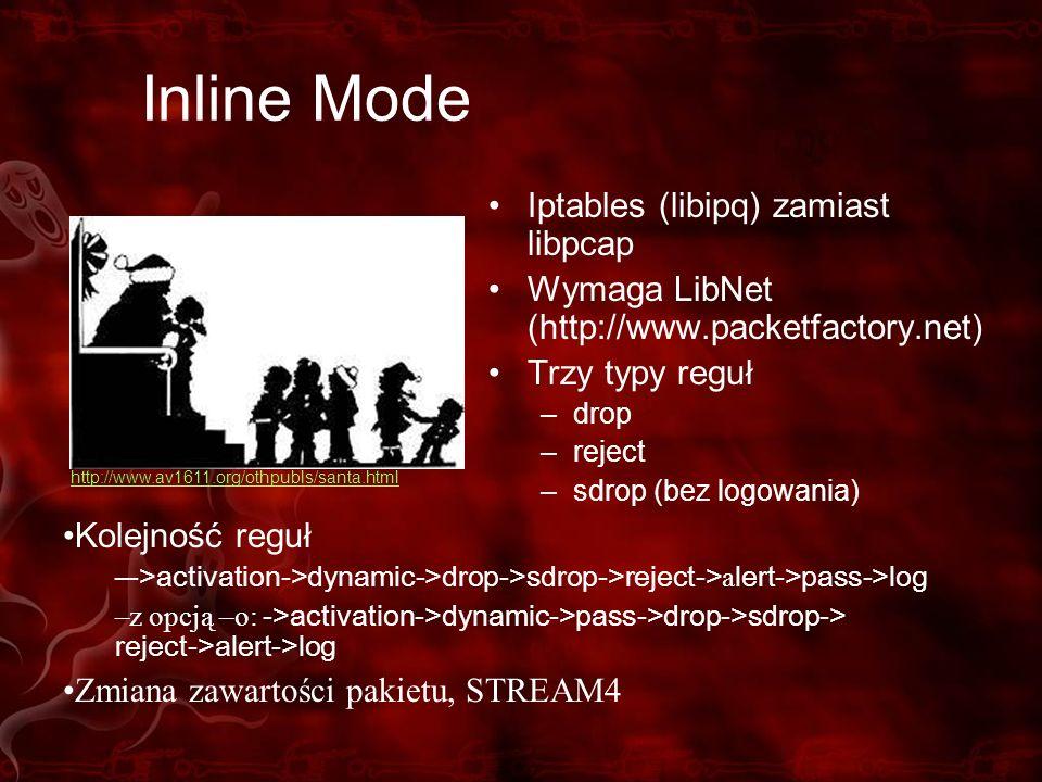Inline Mode Iptables (libipq) zamiast libpcap