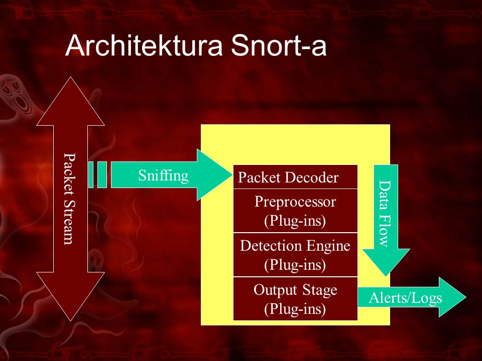 Architektura Snort-a Packet Stream Sniffing Packet Decoder Data Flow