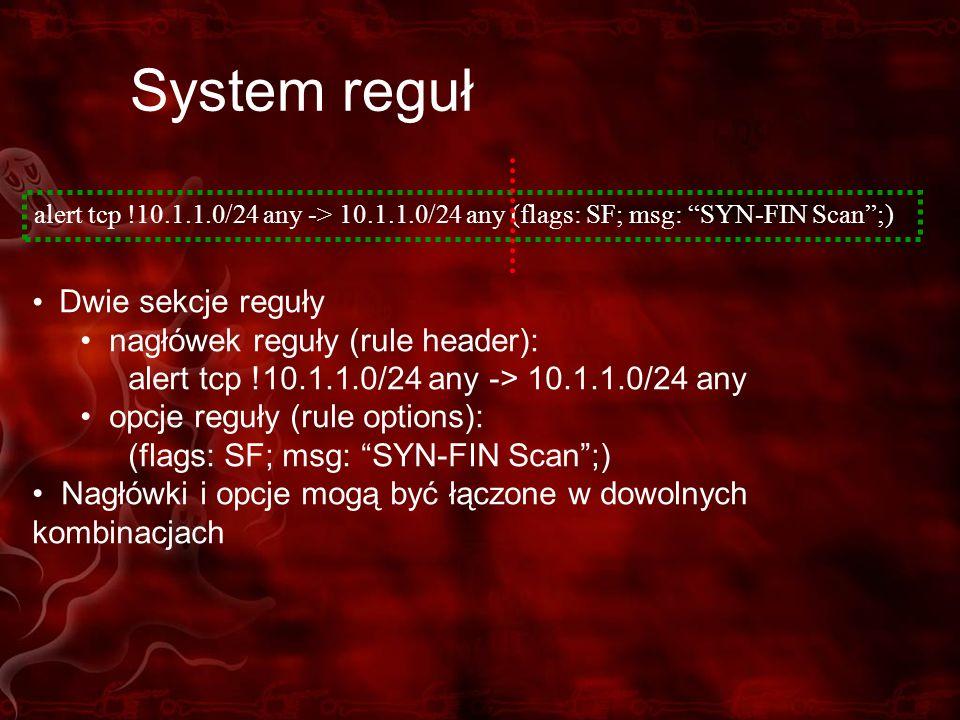 System reguł Dwie sekcje reguły nagłówek reguły (rule header):