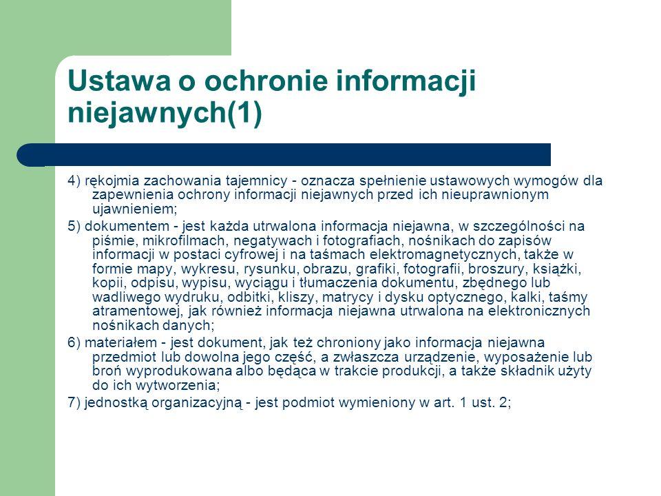 Ustawa o ochronie informacji niejawnych(1)