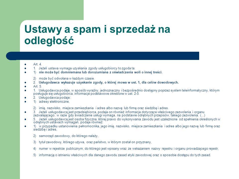 Ustawy a spam i sprzedaż na odległość