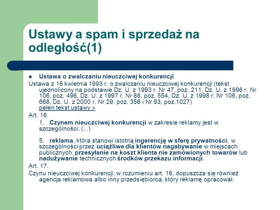 Ustawy a spam i sprzedaż na odległość(1)
