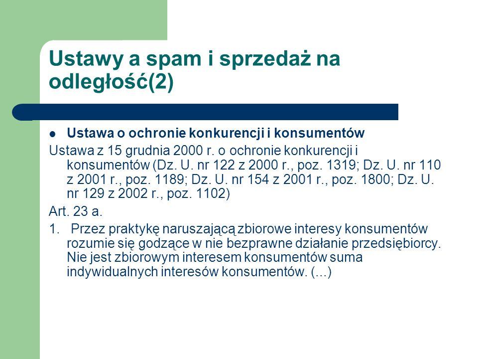 Ustawy a spam i sprzedaż na odległość(2)