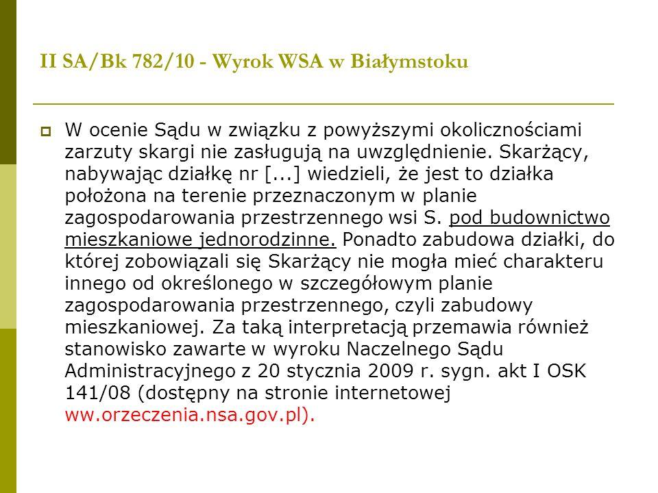 II SA/Bk 782/10 - Wyrok WSA w Białymstoku