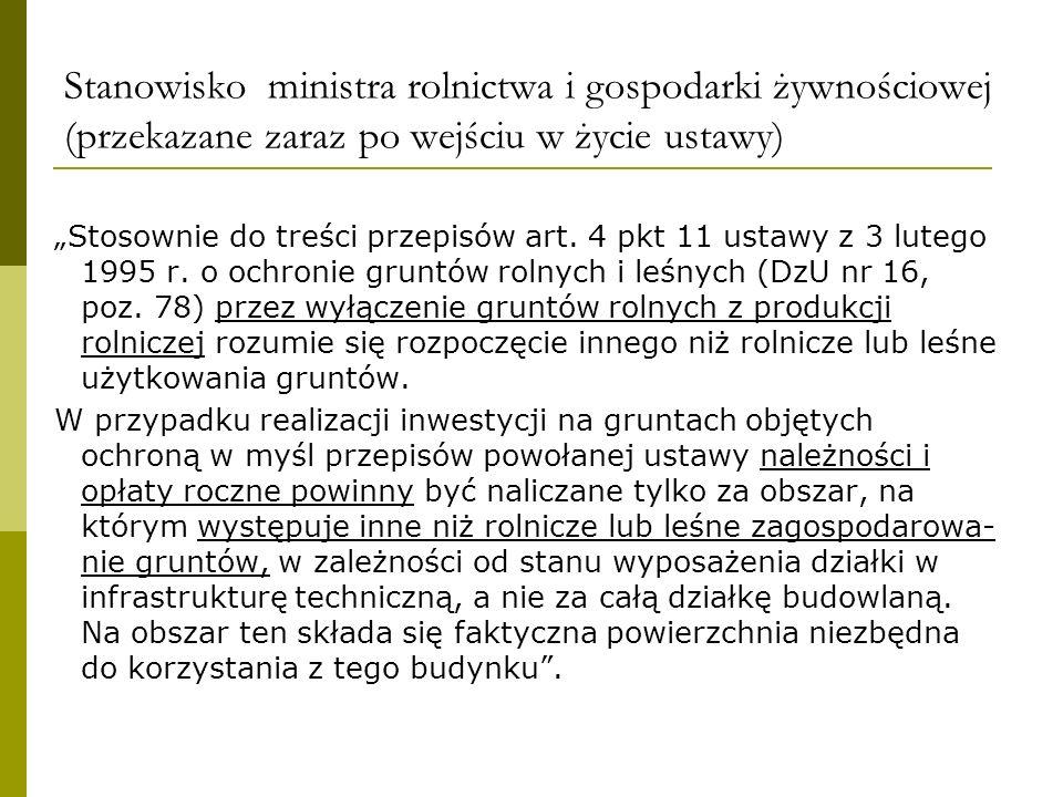Stanowisko ministra rolnictwa i gospodarki żywnościowej (przekazane zaraz po wejściu w życie ustawy)