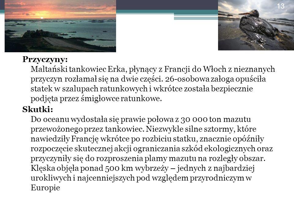 Przyczyny: Maltański tankowiec Erka, płynący z Francji do Włoch z nieznanych przyczyn rozłamał się na dwie części.