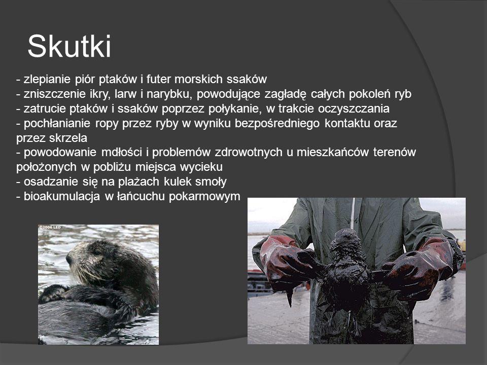 Skutki - zlepianie piór ptaków i futer morskich ssaków