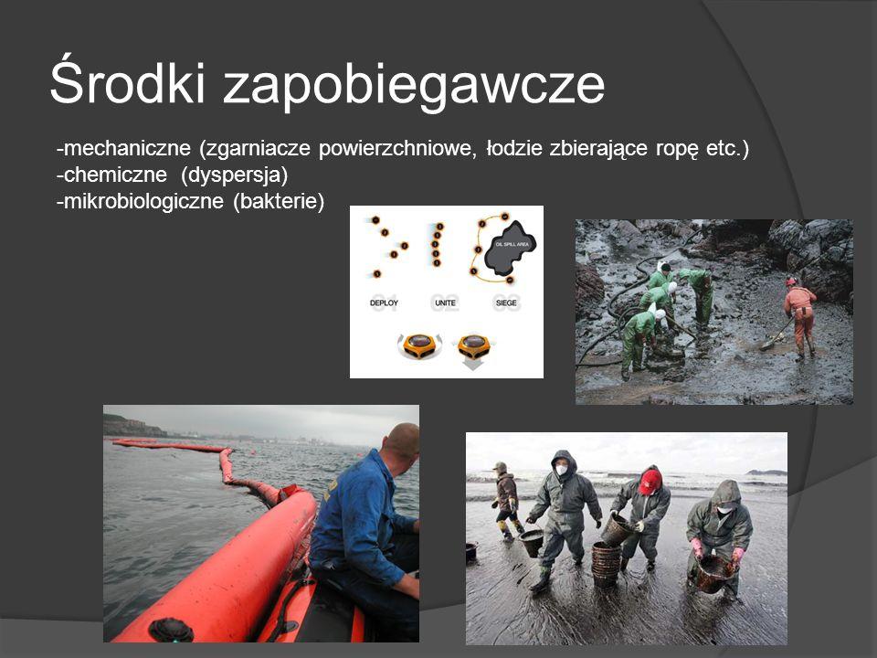 Środki zapobiegawcze -mechaniczne (zgarniacze powierzchniowe, łodzie zbierające ropę etc.) -chemiczne (dyspersja) -mikrobiologiczne (bakterie)