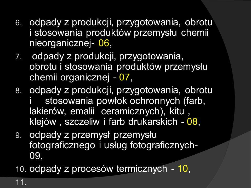 odpady z produkcji, przygotowania, obrotu i stosowania produktów przemysłu chemii nieorganicznej- 06,